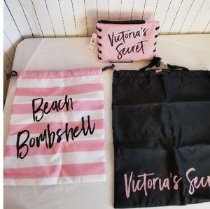 Victoria's Secret Signature Print Tote Set 3 Bags
